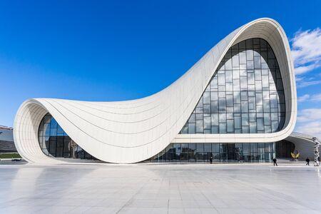 Baku, Azerbaijan, Novemver 07.2016: Close-up view of the Heydar Aliyev Center designed by architect Zaha Hadid. Sunny weather and deep blue sky