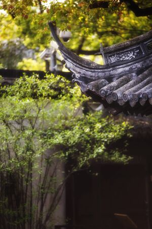 Traditional chinese roof among yellow and green tree foliage