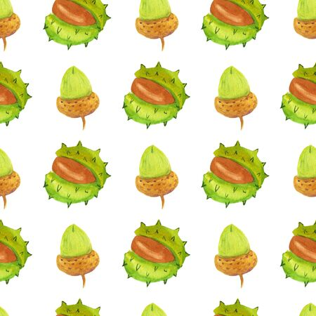 Acorn and chestnut seamless pattern. Watercolor hand drawn illustration of green and brown colors Imagens - 133200545