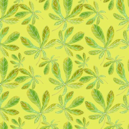 Seamless pattern with painted chestnut leaves. Watercolor green and yellow stylish botanical background Imagens - 133200546
