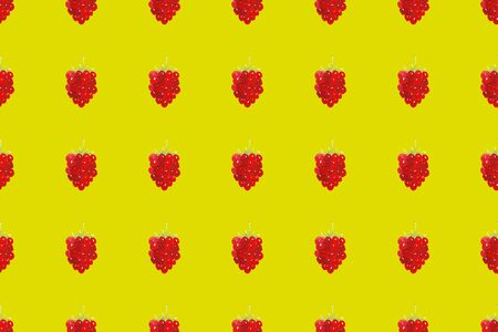 Watercolor seamless pattern with red raspberries on yellow background. Hand drawn fruit vegetarian pattern for textile, wallpaper, paper, menu decoration and design