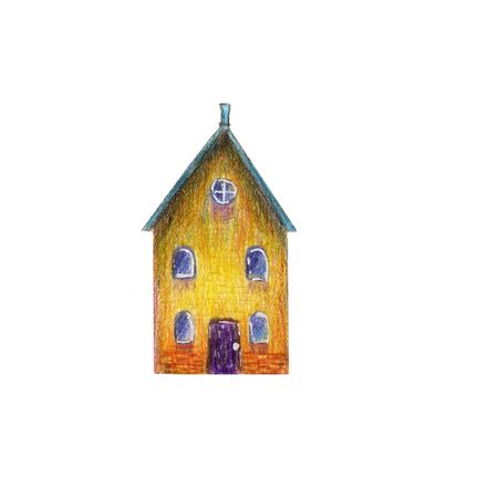 Fairytale colored yellow house with a blue roof in medieval old European style. Multicolored hand drawn with colored pencils illustration on a white background isolated Zdjęcie Seryjne