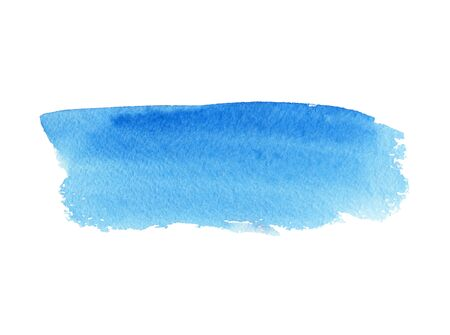 Blue abstract strip banner of watercolor background, wet paint smear. Hand drawn template Stock fotó - 133694296