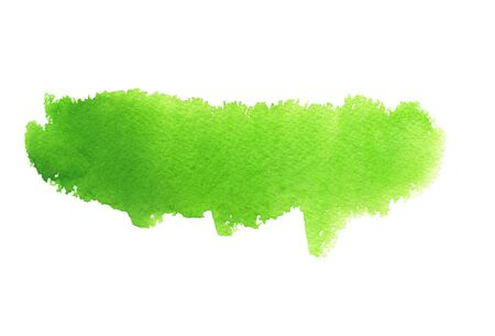 Bright green abstract strip of watercolor background, wet smear. Hand drawn template Stock fotó - 133694297