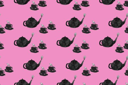 Hand-drawn seamless pattern: ink black teapots and cups with steam on a pink background Reklamní fotografie