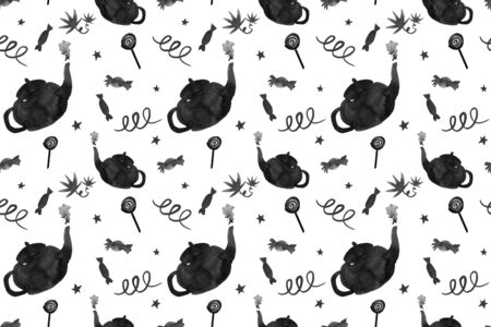 Seamless black and white hand-drawn pattern: ink teapots, sweets and decorative elements on a white background.