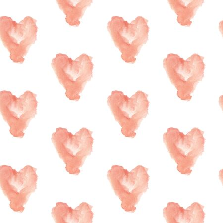 Watercolor heart shape seamless pattern. Hand drawn illustration of delicate cream color Stock Photo