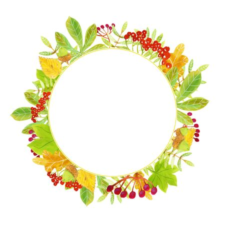 Ornamental autumn watercolor round frame template with red rowanberries, green, yellow and orange leaves, fruit and twigs for greeting cards, posters, invitations