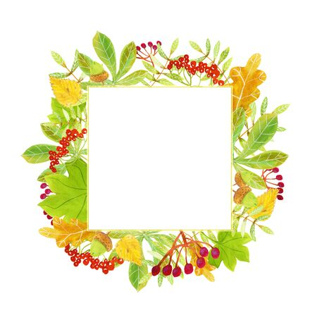 Ornamental autumn watercolor square frame template with red rowanberries, green, yellow and orange leaves, fruit and twigs for greeting cards, posters, invitations