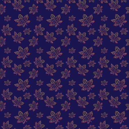 Seamless pattern with painted maple leaves. Watercolor flowing multicolored yellow, red, orange, purple leaf contour. Botanical background Zdjęcie Seryjne