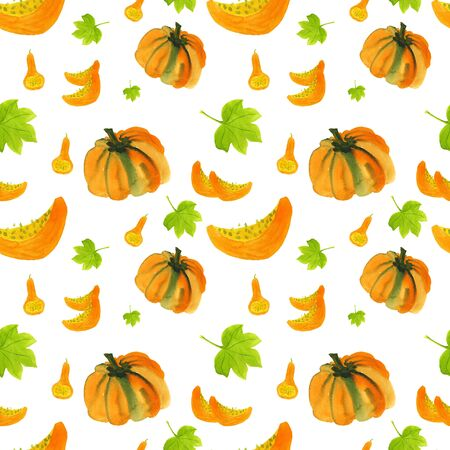 Seamless pattern of orange pumpkins, slices, green leaves and bottle gourds. Hand-drawn watercolor background