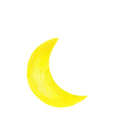 Illustration of a yellow bright moon on a white background, hand-drawn with colored pencils Reklamní fotografie