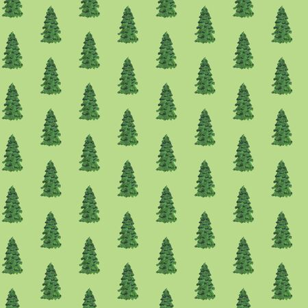 Seamless pattern of hand drawn Christmas trees. Marker drawing of fir trees on a green background. Christmas background. Perfect for textile, posters, postcards, paper Stock Photo
