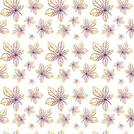 Seamless pattern with painted chestnut leaves. Watercolor multicolored yellow, red, orange, purple leaf contour. Botanical background