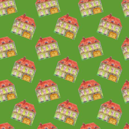 Seamless pattern of fairytale colored green house in medieval old European style. Multicolored hand drawn with colored pencils illustration