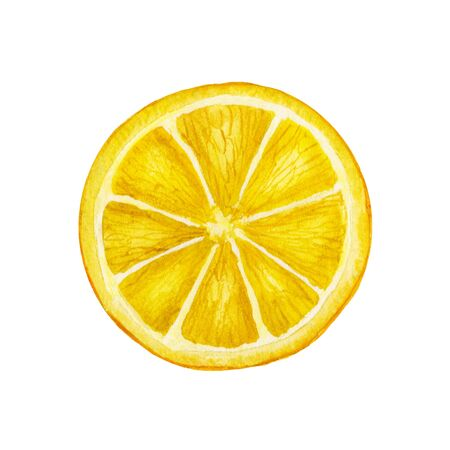 Round yellow slice of a lemon. Watercolor food hand-drawn illustration on isolated white background. Seasonal fruit Imagens