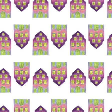 Seamless pattern of fairytale colored pink, violet and blue houses in medieval old European style. Multi-colored hand drawn with colored pencils illustration