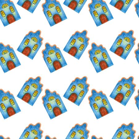 Seamless pattern of fairytale colored blue houses in medieval old European style. Multicolored hand drawn with colored pencils illustration Stock fotó