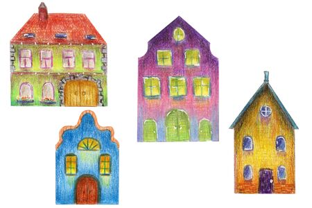 Fairytale set of hand-drawn colorful houses in the old European style on a white background isolated. Multicolored illustration with colored pencils 写真素材