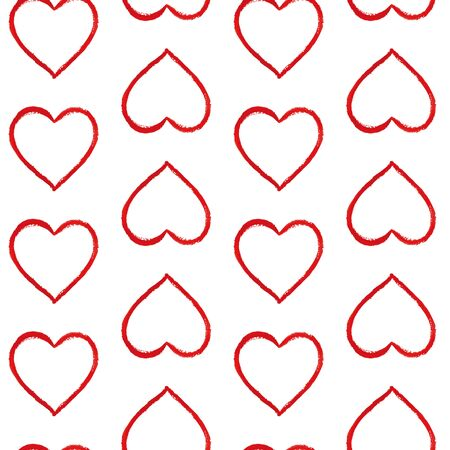 Seamless pattern of contour watercolor hearts. Red hand-drawn illustration with brush strokes on a white background. Perfect for the design of postcards, posters, textiles, paper