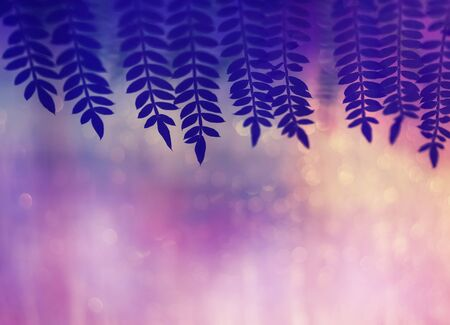 Festive purple background with highlights and beautiful blur and framing of leaves. Free space for text. Purple leaves background. Natural frame
