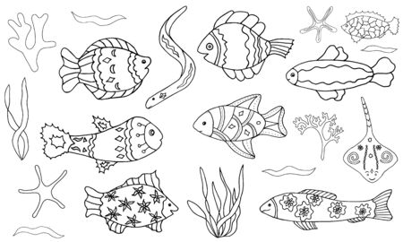 Vector fish and sea set. Hand-drawn contour doodle illustration on white background isolated. Ornamental fishes, waves, algae. Decorative elements for design