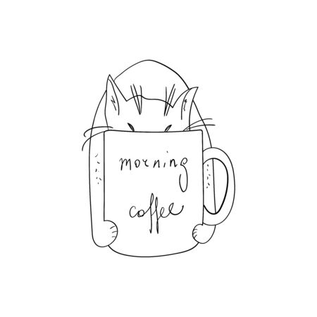 Morning coffee with a cat. Vector outline illustration. Cute cat in a cup of coffee. Hand drawn sketch. The beginning of a working morning at home