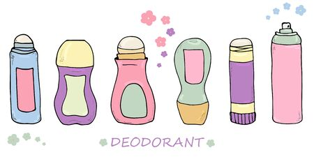 Set of deodorant forms. Cute pastel colored bottles. Beauty, hygienical and cosmetic items. Vector hand drawn illustrations isolated. Wellness design elements. Women care