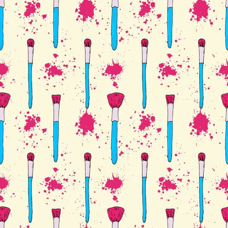 Seamless pattern for visagiste. Makeup brushes with mascara stains. Bright pink and blue vector illustration on a yellow background. Vibrant beauty and cosmetic background