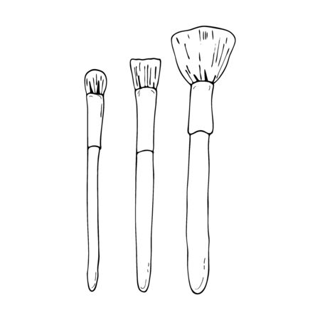 Makeup brushes set. Outline vector hand drawn illustration isolated. Cosmetic accessory. Beauty product. Care cosmetics. Element for fashion and beauty design