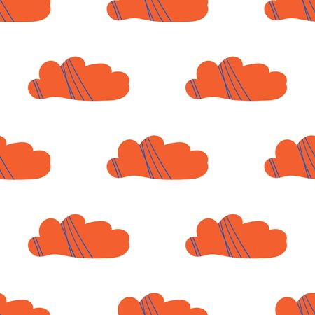 Vector seamless pattern with stylized clouds. Bright red clouds. Cute stylish background for children design, paper, textile, decoration, nursery. Hand-drawn illustration in doodle style. Vettoriali