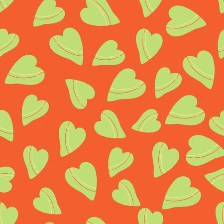Vector seamless pattern with stylized hearts. Hand-drawn illustration in doodle style. Cute stylish background for romantic design, paper, textile, decoration, nursery