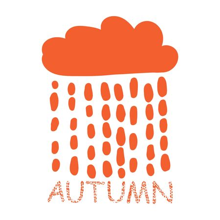 Autumn stylized postcard. Vector hand drawn illustration in doodle style. Cloud with raindrops. Cute stylish background for postcards, banners, children design, paper, textile, decoration