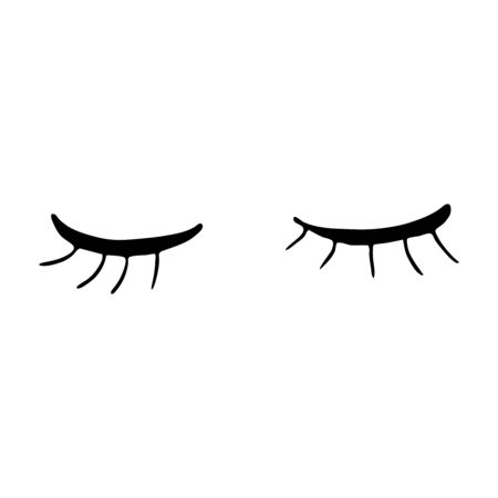 Closed eyes with long eyelashes. Cute contour outline vector illustration. Beauty product. Silhouette of female eyelashes. Eyelash extensions