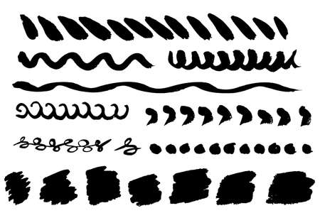 Set of vector brush strokes and banners. Hand-drawn ink lines, dots, spots, prints. Isolated on white background. Black dirty texture. Design elements