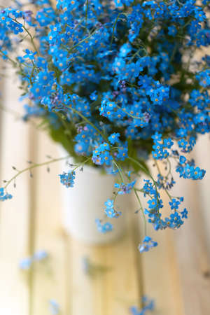 Forget-me-nots flowers in a vase. Blue flowers bouquet. Beautiful floral romantic background. Festive image for greetings, cards, design, motivation texts