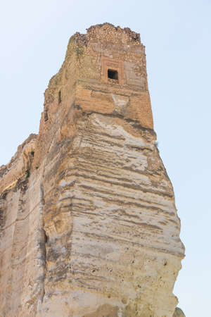 Close-up view of Hasankeyf castle, Turkey, Eastern Anatolia. Stone ruin on a rock. Panoramic view of the Palace