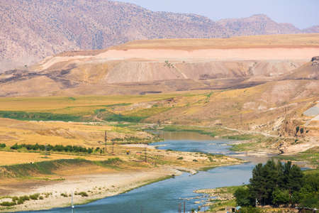 Panoramic view of Tigris river and valley and beautiful mountains near Hasankeyf town, Turkey, Eastern Anatolia