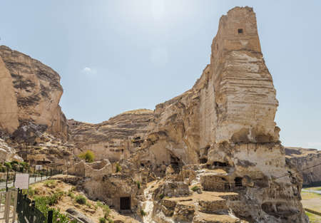 Panoramic view of Hasankeyf ancient cave houses, the Castle and the Citadel. Historic ruins in Eastern Turkey