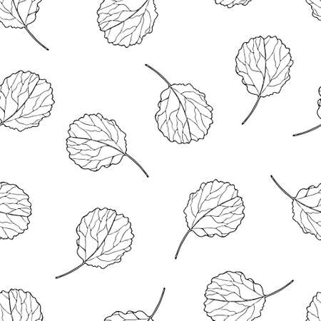 Seamless pattern with ornamental aspen leaves. Vector contour leaf. Hand-drawn outline sketch illustration. Vintage decorative background for floral botanical design. Line plant silhouette