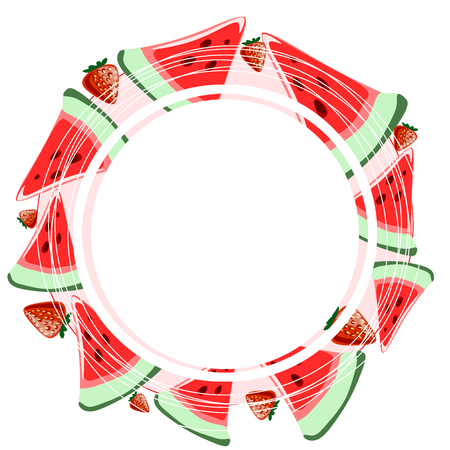 round frame with a slice of watermelon