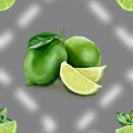 Lime with green leaves, a slice of citrus. Tropical fruits. Raw and vegetarian food. Seamless pattern illustration Zdjęcie Seryjne