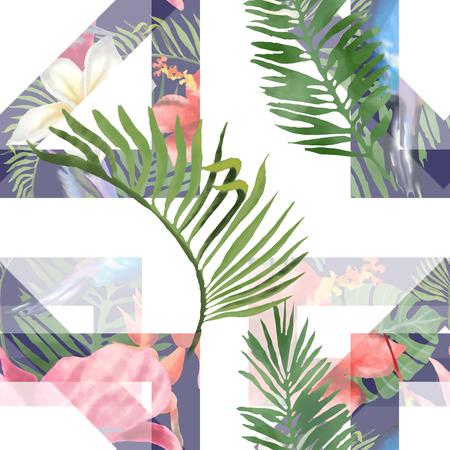 Tropical Flowers and Leaves Geometric Background - Vintage Seamless Pattern. 版權商用圖片
