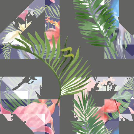 Tropical Flowers and Leaves Geometric Background - Vintage Seamless Pattern. 版權商用圖片 - 122784148