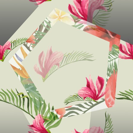 Tropical Flowers and Leaves Geometric Background - Vintage Seamless Pattern. Imagens