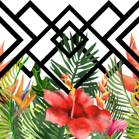 Summer print of exotic jungle plants of tropical palm leaves. Pattern, seamless floral pattern on a black white geometric background. Nature wallpaper