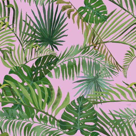 Tropical leaves pattern on pink background. Bright summer pattern