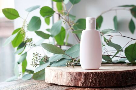 Cosmetic bottle with green leaves of eucalyptus, Blank label mock-up.