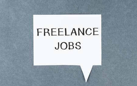 freelance job text on card, business concept