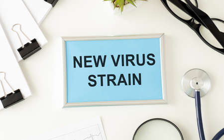 Virus prevention and treatment - wearing masks, taking vitamins and antiviral drugs and text new virus strain